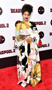 Zazie Beetz brought plenty of graphic appeal to the 'Deadpool 2' New York screening with this floral maxi dress by Valentino.