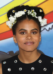 Zazie Beetz gave us goddess-of-spring vibes with this flower-adorned braided updo at the 'Deadpool 2' photocall in London.