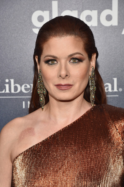 Debra Messing Long Straight Cut [hair,hairstyle,eyebrow,shoulder,beauty,lip,long hair,brown hair,eyelash,dress,red carpet,cocktails,debra messing,glaad media awards,new york city,the hilton midtown]
