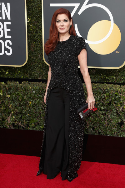 Debra Messing Embellished Top [red carpet,clothing,dress,carpet,premiere,flooring,fashion,shoulder,fashion model,gown,arrivals,debra messing,the beverly hilton hotel,beverly hills,california,golden globe awards,annual golden globe awards]