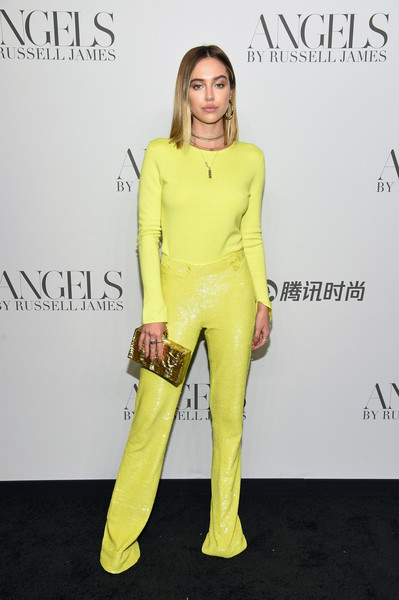 Delilah Belle Hamlin Crewneck Sweater [yellow,clothing,fashion,shoulder,footwear,leg,fashion model,dress,neck,fashion design,arrivals,cindy crawford,candice swanepoel host angels,russell james,delilah belle hamlin,angels,stephan weiss studio,russell james book launch and exhibit,exhibit,book launch]