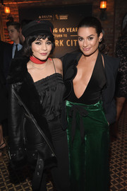 Vanessa Hudgens layered a black silk cami under a leather jacket for the Delta Air Lines Grammy Weekend celebration.