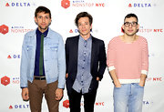 Andrew Dost wore a light-wash denim jacket to Delta Air Lines' Nonstop NYC challenge event.