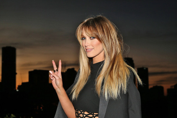 Delta Goodrem Long Straight Cut with Bangs [hair,blond,face,beauty,hairstyle,lip,yellow,long hair,fashion,flash photography,sydney,australia,the voice live finals show launch,delta goodrem]