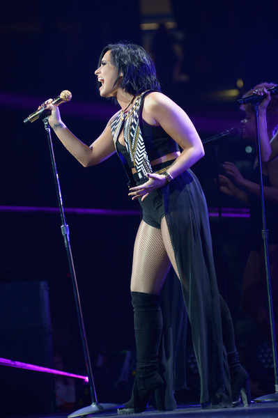 Demi Lovato Knee High Boots [performance,entertainment,performing arts,music artist,singing,singer,music,event,stage,concert,demi lovato,flz,tampa bay,fla,amalie arena,capital one,jingle ball 2015 - show]