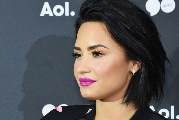 Demi Lovato Diamond Studs [hair,face,lip,eyebrow,cheek,chin,hairstyle,nose,beauty,skin,demi lovato,newfront 2016,seaport district nyc,new york city,aol]