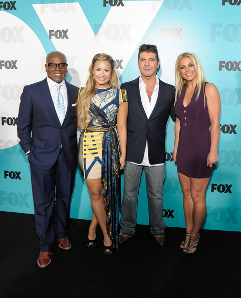 Demi Lovato Studded Heels [carpet,event,premiere,suit,red carpet,fashion,flooring,award,white-collar worker,formal wear,l.a. reid,britney spears,demi lovato,simon cowell,l-r,wollman rink - central park,new york city,fox 2012 programming presentation post-show party]
