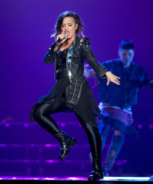 Demi Lovato Leather Jacket [demi lovato,christina perri,performance,entertainment,music artist,performing arts,event,lady,latex clothing,stage,public event,singer,staples center,los angeles,california,mkto]