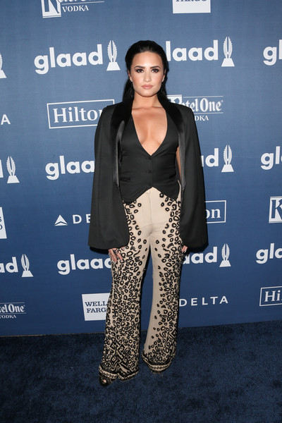 Demi Lovato Vest [clothing,premiere,fashion,carpet,pantsuit,red carpet,outerwear,suit,event,long hair,arrivals,demi lovato,glaad media awards,beverly hills,california,beverly hilton hotel]