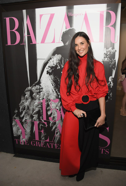 Demi Moore Envelope Clutch [pink,red,fashion,magenta,fashion design,photography,costume,style,black hair,art,los angeles,california,book launch celebration,glenda bailey,demi moore,eric buterbaugh]