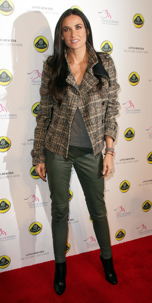 Demi Moore Cropped Jacket [clothing,green,yellow,fashion,jeans,footwear,outerwear,fashion design,carpet,long hair,arrivals,demi moore,los angeles,california,lotus cars,launch event,event,lotus cars launch]