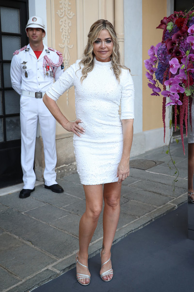 Denise Richards Mini Dress [white,clothing,fashion,dress,cocktail dress,lady,shoulder,leg,footwear,pink,denise richards,cocktail,monaco palace,monte carlo tv festival : cocktail]