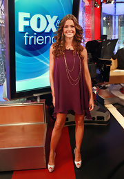 Denise Richards looked sophisticated for her appearance on 'Fox & Friends' in white peep-toe platforms an an A-line shift dress.