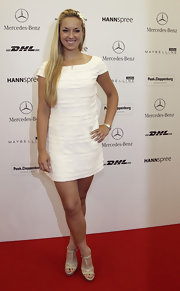 Sabine Lisicki's white mini dress with cap sleeves was a darling summer shift.