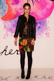 Katie Holmes made an appearance at the Desigual fashion show wearing the brand's signature bright prints.