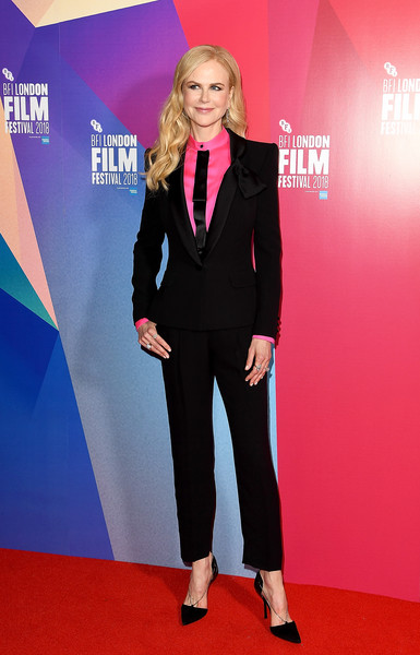 Nicole Kidman opted for a black Armani Privé tuxedo teamed with a hot-pink silk shirt when she attended the BFI London Film Festival premiere of 'Destroyer.'