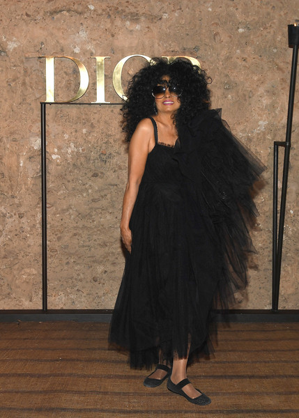 Diana Ross Ballet Flats [black,clothing,dress,shoulder,lady,fashion,little black dress,photo shoot,black hair,long hair,s20 cruise collection,diana ross,photocall,marrakech,morocco,christian dior couture s]