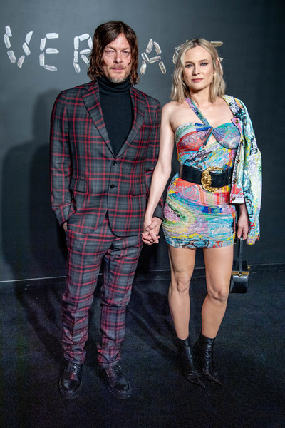 Diane Kruger Ankle Boots [fashion,clothing,fashion design,design,performance,fashion model,fashion show,event,plaid,pattern,arrivals,norman reedus,diane kruger,versace fall,american stock exchange building,new york city,lower manhattan,versace,fashion show]