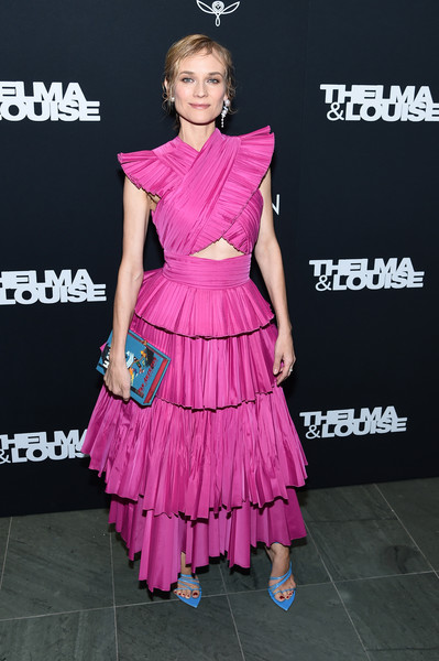 Diane Kruger Printed Clutch [clothing,dress,fashion model,cocktail dress,shoulder,pink,fashion,hairstyle,joint,premiere,thelma louise women in motion screening,diane kruger,screening,new york city,museum of modern art,diane kruger,cannes film festival,inglourious basterds,fashion,celebrity,photograph,red carpet,image]