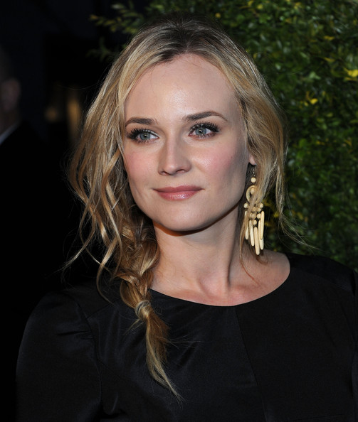 Diane Kruger Dangle Decorative Earrings [hair,face,eyebrow,hairstyle,blond,lip,beauty,chin,long hair,layered hair,diane kruger,new york city,christies,green auction: a bid to save the earth]
