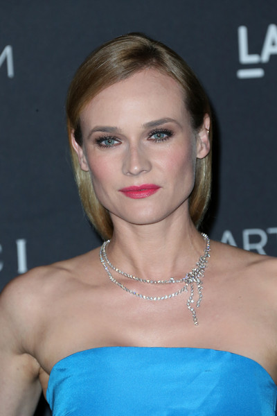 Diane Kruger Layered Diamond Necklace [hair,face,hairstyle,shoulder,eyebrow,blond,beauty,lip,chin,premiere,diane kruger,james turrell,alejandro g inarritu,arrivals,lacma,california,los angeles,gucci,lacma 2015 art film gala]