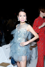 Chiu-Ti Jansen went all out with the frills in a tutu-inspired cocktail dress during the Diane Von Furstenberg fashion show.