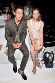 Jessica Joffe complemented her simple dress with sexy nude strappy sandals when she attended the Diane Von Furstenberg fashion show.