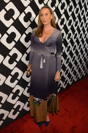 Jacqui Getty opted for an ankle-length print wrap dress when she attended the Journey of a Dress exhibition opening.