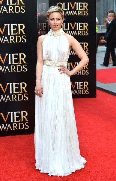 Dianna Agron Evening Dress [flooring,gown,carpet,red carpet,shoulder,dress,fashion,fashion model,haute couture,girl,red carpet arrivals,dianna agron,olivier awards,the royal opera house,london,england,the olivier awards]