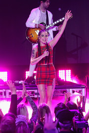 Halsey got into the holiday spirit with this red tartan crop-top for her performance at Dick Clark's New Year's Rockin' Eve.