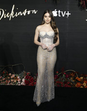 Hailee Steinfeld turned up the heat in a sheer, strapless corset gown by Francesco Scognamiglio at the New York premiere of 'Dickinson.'