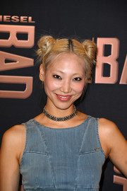 Soo Joo Park channeled her inner little girl with these pigtail buns for the launch of Diesel's new fragrance.