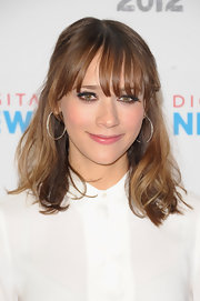 Rashida Jones wore her shiny tresses in with long wispy bangs while attending NewFront 2012