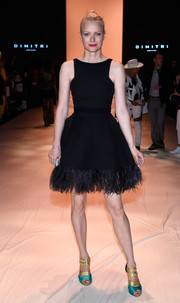Franziska Knuppe looked absolutely darling at the Dimitri fashion show in a fit-and-flare LBD with a feathered hem.