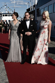 Princess Mette-Marit was spring-glam in a floral gown by Giambattista Valli at the pre-wedding dinner for Prince Carl Philip and Sofia Hellqvist.