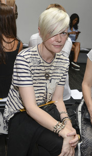 Kate Lanphear kept it laid-back in a black-and-white striped tee during the Dion Lee fashion show.
