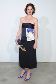 Ruth Wilson chose this column strapless dress with an Andy Warhol print on it for an artistic touch.