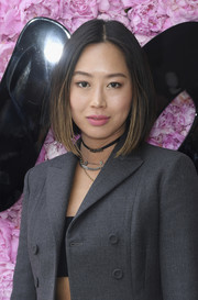 Aimee Song wore her hair in an ombre bob at the Dior Homme Spring 2019 show.