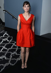Marion Cotillard wore a vivid red Dior mini dress with a nipped-in waist for 'The Immigrant' afterparty in NYC.