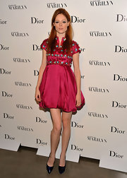 Coco Rocha topped off her sparkling frock with patent leather platform pumps.