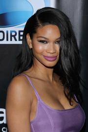 Chanel Iman looked sweet with her matching lavender lipstick and dress.