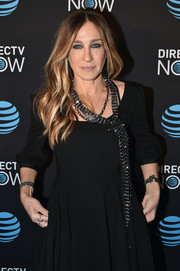 Sarah Jessica Parker spruced up her LBD with a statement necklace when she attended the DirecTV Now launch.