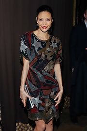 Thandie Newton had some fun with her red carpet look with this geometric and star print beaded frock.