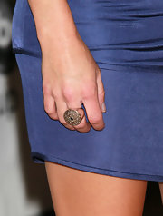 Andrea showed off her large cocktail ring while hitting the red carpet.