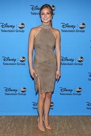 Emily VanCamp kept it classic and preppy at the 2013 Summer TCA Tour where she wore a light brown halter dress.