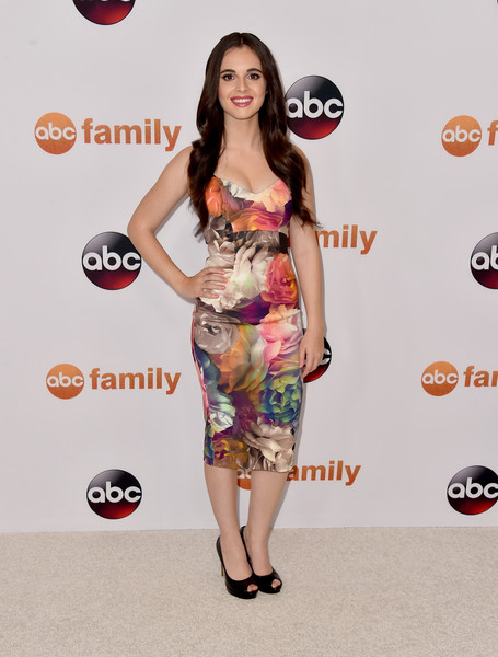 More Pics of Vanessa Marano Print Dress (1 of 3) - Dresses & Skirts Lookbook - StyleBistro [tour photo,clothing,dress,red carpet,shoulder,carpet,cocktail dress,fashion,fashion model,footwear,premiere,vanessa marano,call,beverly hills,california,beverly hilton hotel,abc television group,disney,summer tca press,tca summer press tour]