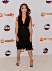 Ming-Na Wen was sultry yet elegant in a little black dress with a plunging neckline during the Disney Group's Summer TCA Press Tour.
