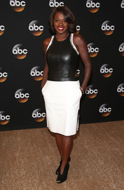 Viola Davis was modern and edgy in a black-and-white cutout leather dress by Helmut Lang at the TCA Summer Press Tour.