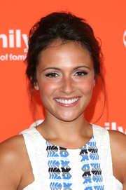 Italia Ricci attended the TCA Summer Press Tour rocking a messy updo.