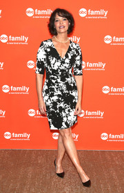 Mary Page Keller was stylish in a black-and-white wrap dress during the TCA Summer Press Tour.